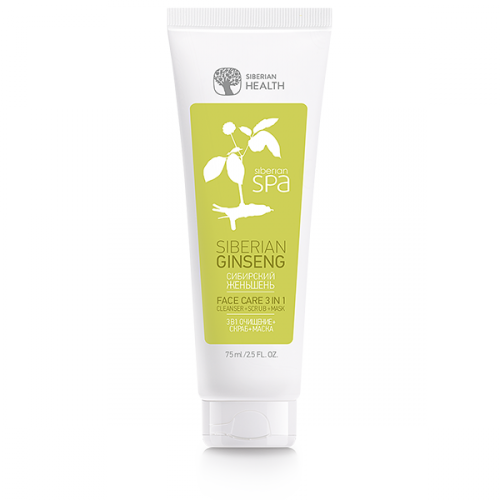 Siberian SPA Collection. SIBERIAN GINSENG. Gesichtspflege 3 in 1 Gesichtsreinigung + Peeling + Maske, 75 ml 402585