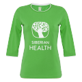 Promo T-shirt for women (color: green, size: 48/L, 3/4 length sleeves)